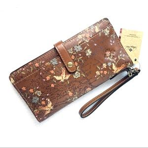 Patricia Nash Floral Map Pitelli Leather Wallet